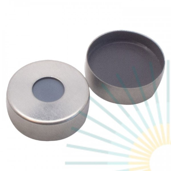 20mm Magnet. Bördelk., silber, 8mm Loch; Formscheibe Butyl/PTFE, grau, 3,0mm
