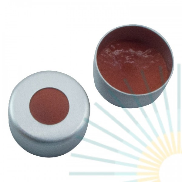 11mm Crimp Cap (Alu), colourless, hole; Nat. Rubber red-orange/butyl red/TEF transp, 1.0mm