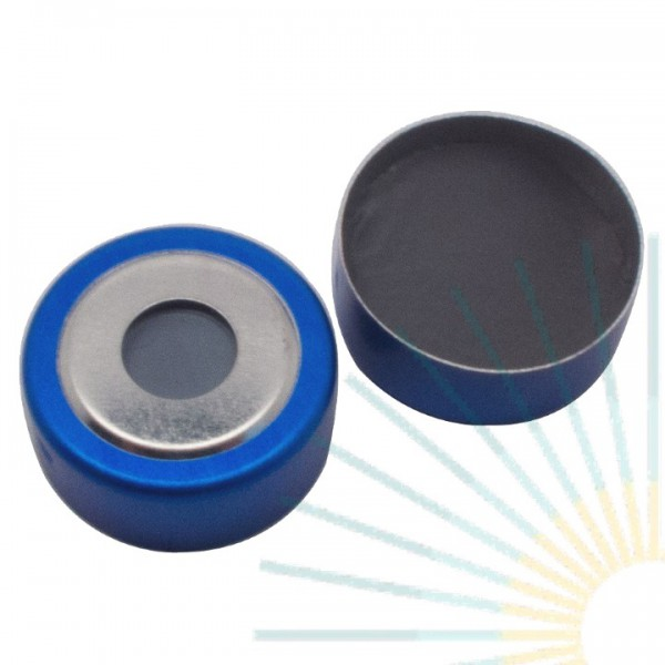20mm Magnet. Bimetal-Cap, blue/silver, 8mm hole; 20mm Septa butyl/ PTFE, 3.0mm
