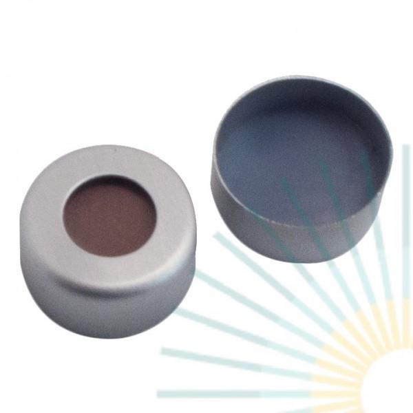 11mm Bördelk. (Alu), farblos, Loch; Butyl rot/PTFE grau, 1,3mm