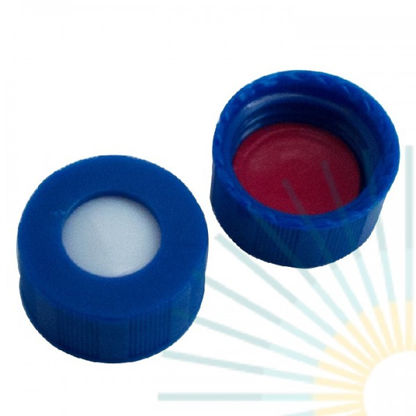 9mm UltraBond PP Short Screw Cap, blue, hole; Silicone white/PTFE red, 1.3mm