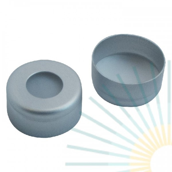 11mm Crimp Cap (Alu), colourless, hole, with crimp; PTFE virginal, 0.25mm