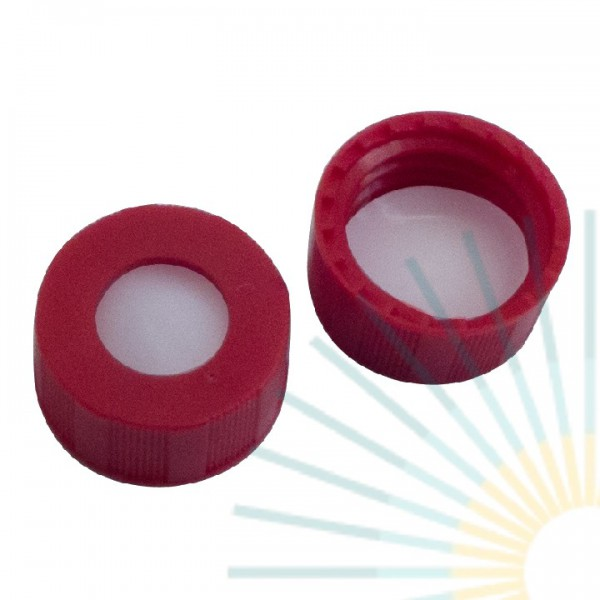 9mm PP Short Screw Cap, red, hole; PTFE virginal, 0.2mm