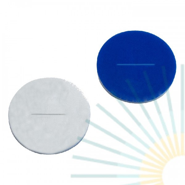 9,5mm Septa, Silicone white/PTFE blue, 1.5mm, slitted