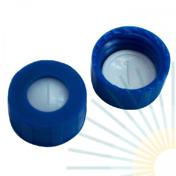 9mm UltraBond PP Short Screw Cap, blue, hole; Silicone beige/PTFE white, 1.3mm, slitted