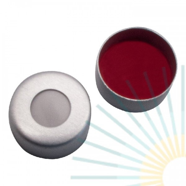 11mm Crimp Cap (Alu), colourless, hole; Silicone creme/PTFE red, 1.5mm