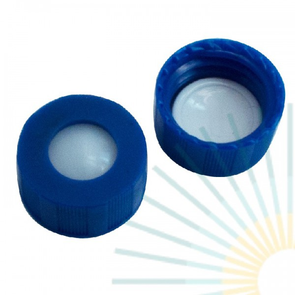 9mm UltraBond PP Short Screw Cap, blue, hole; Silicone beige/PTFE white, 1.3mm