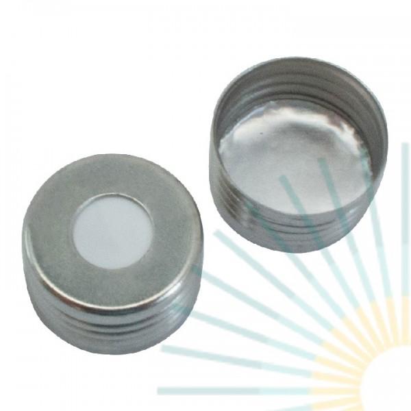 18mm magnet. Universalschraubkappe f. Fein-GW, silber, Loch; Silicon weiß/ Alufolie silber, 1,3mm