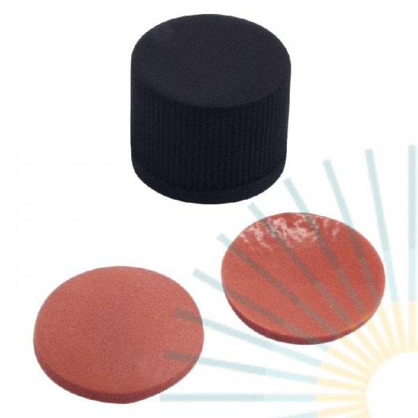10mm PP Screw Cap, black, slitted, ND10; Nat. Rubber red-orange/TEF transp., 1.3mm