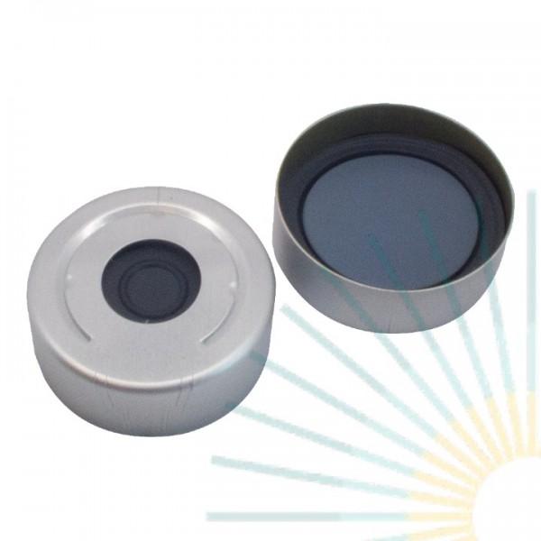 20mm Alu HS Bördelk., farblos, Loch; Pharma-Fix-Septum, Butyl/PTFE, 3,0mm