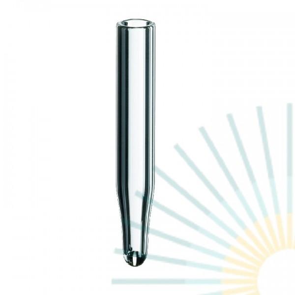 0,1ml Mikroeinsatz, 31 x 5mm, Klarglas, 9mm Spitze