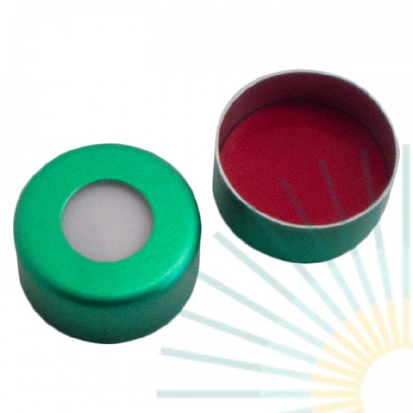 11mm Crimp Cap (Alu), green, hole; Silicone white/PTFE red, 1.3mm