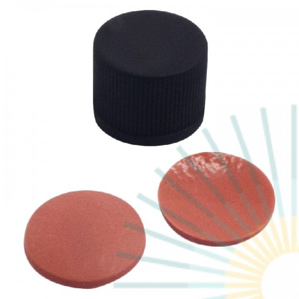 13mm PP Screw Cap, black, slitted; Nat. Rubber red-orange/TEF transp., 1.3mm