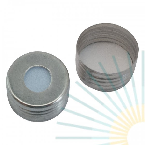 18mm magnet. Universalschraubkappe für Fein-GW, silber, Loch; Silicon blau transp./PTFE weiß, 1,3mm