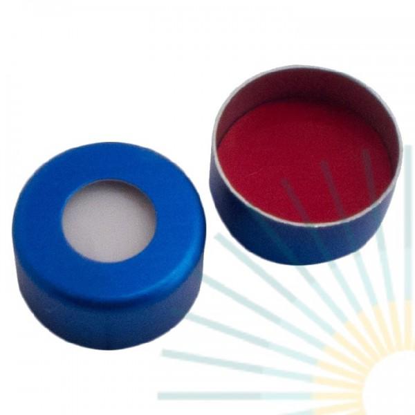 11mm Crimp Cap (Alu), blue, hole; Silicone white/PTFE red, 1.3mm