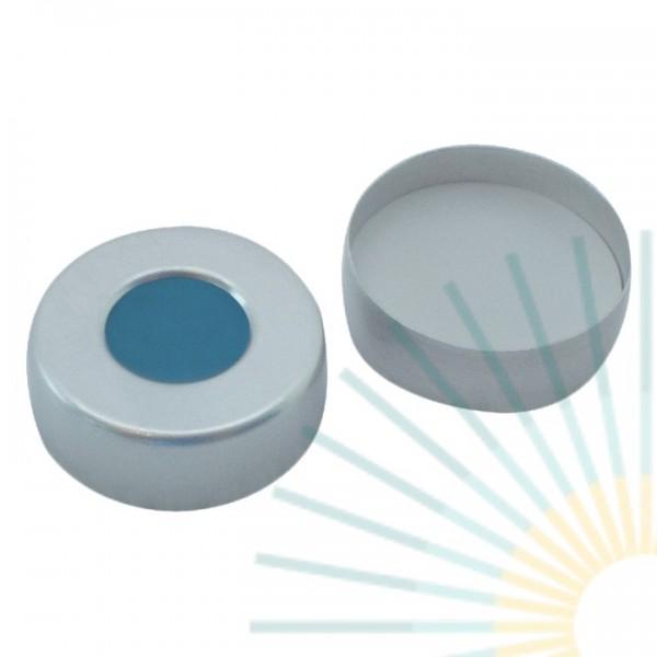 20mm Bördelk. (Alu), walzblank, Loch; Silicon blau transp/PTFE weiß, 3,0mm