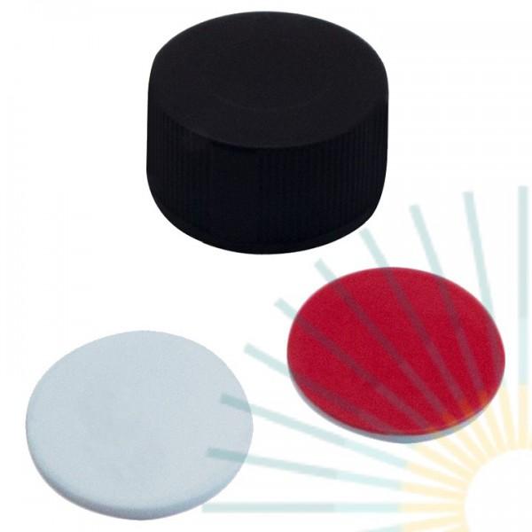 9mm PP Kurz-GW-Kappe, blau, geschl.; Silicon weiß/PTFE rot, 1,0mm