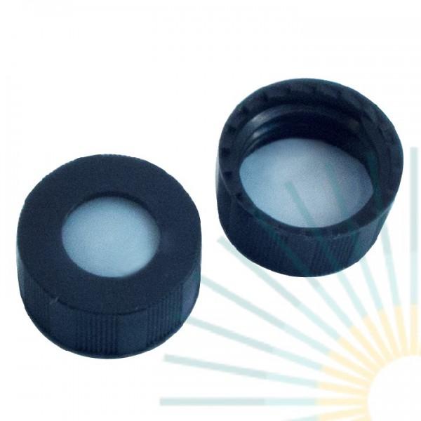 9mm PP Kurz-GW-Kappe, schwarz, Loch; PTFE virginal, 0,2mm