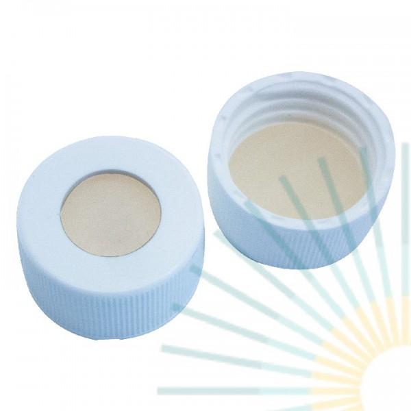 24mm PP Schraubkappe, weiß, Loch; Silicon natur/PTFE beige, 3,2mm, EPA-Qualität