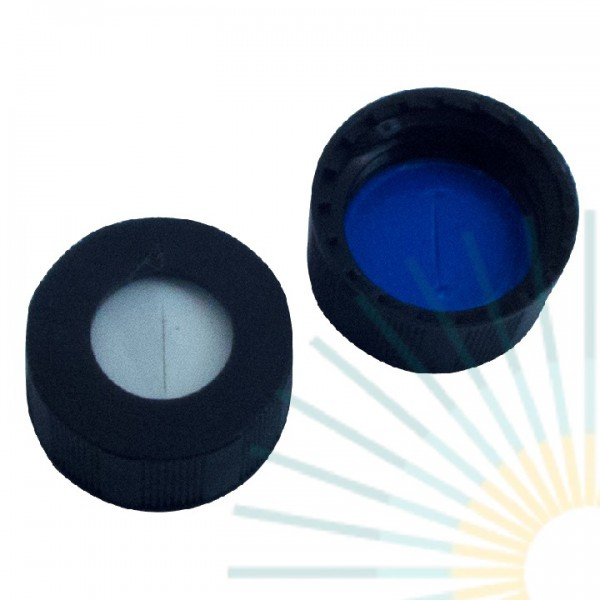 9mm PP Short Screw Cap, black, hole; Silicone white/PTFE blue, 1.0mm, slitted