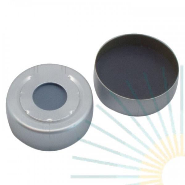 20mm Alu HS Bördelk., farblos, Loch; Formscheibe Butyl/PTFE, grau, 3,0mm