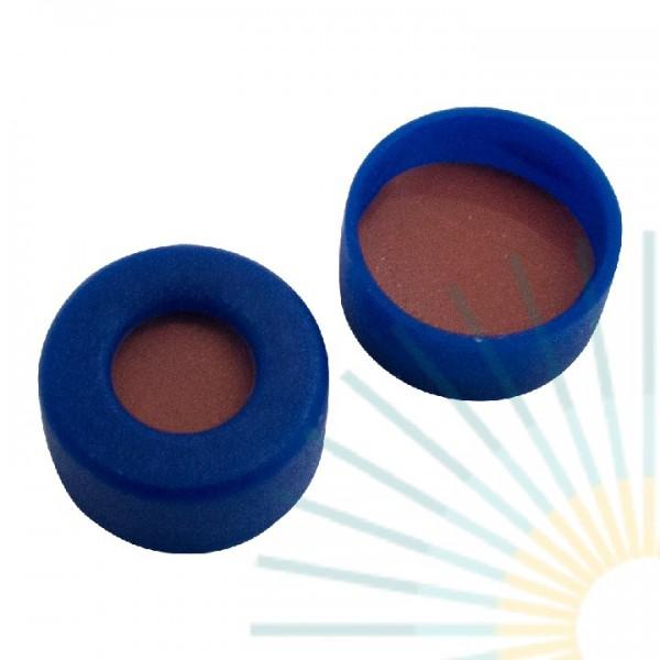11mm PE Snap Ring Cap, blue, hole, soft version; Nat. Rubber red-orange/TEF transp., 1.0mm