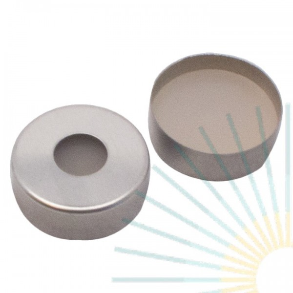 20mm Magnet. Crimp Cap, silver, 8mm hole; 20mm Septa, Silicone nature/PTFE beige, 3.2mm