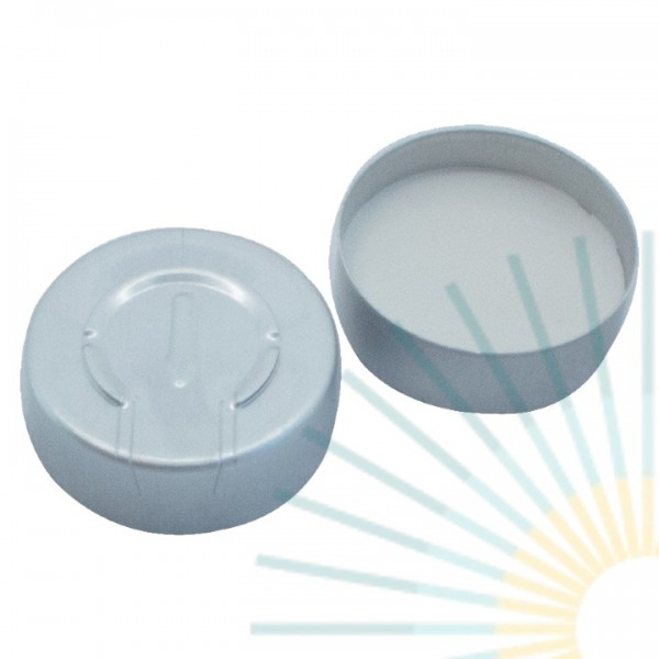 20mm Crimp Cap (Alu), colourless, comp. tear off; Silicone blue transp/PTFE white, 3.0mm