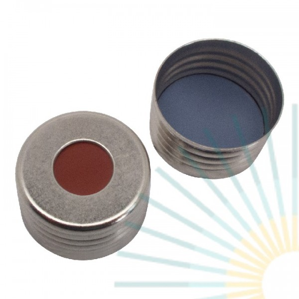 18mm magnet. Universal Precision Thread Cap f. , silver, hole; butyl red/PTFE grey, 1.6mm