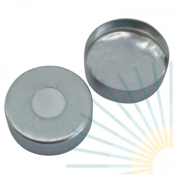 20mm Magnet. Bördelk., silber, 8mm Loch; Silicon weiß/Alufolie silber, 3,0mm