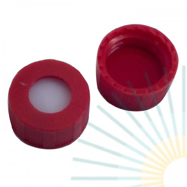 9mm PP Short Screw Cap, red, hole; Silicone white/PTFE red, 1.0mm