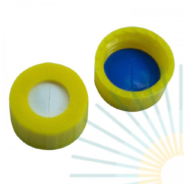 9mm PP Short Screw Cap, yellow, hole; Silicone white/PTFE blue, 1.0mm, slitted