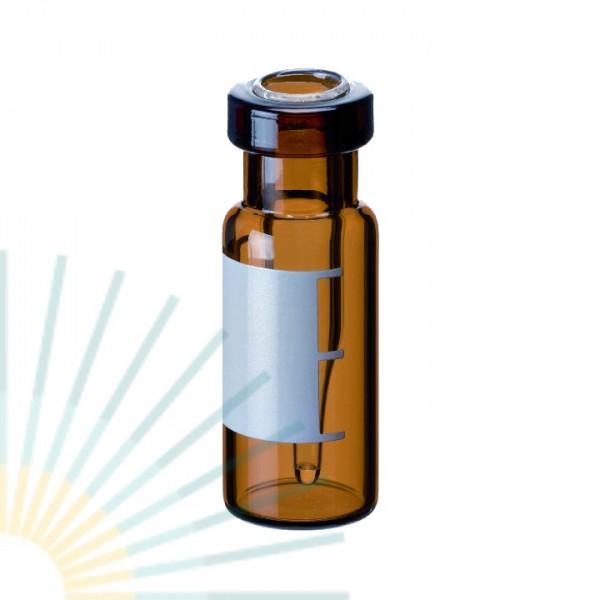 Rollrandflasche mit integriertem 0,2ml Mikroeinsatz, 32 x 11,6mm, Braunglas, SF und FM