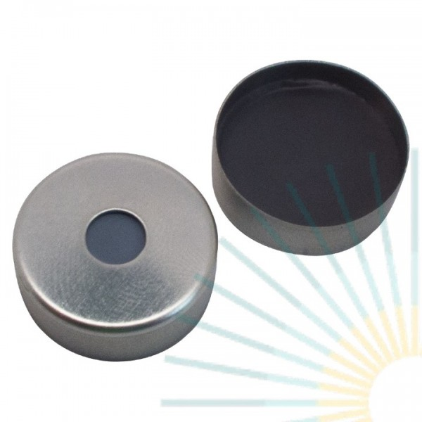 20mm Magnet. Crimp Cap, silver, 5mm hole; Septa butyl/PTFE, grey, 3.0mm