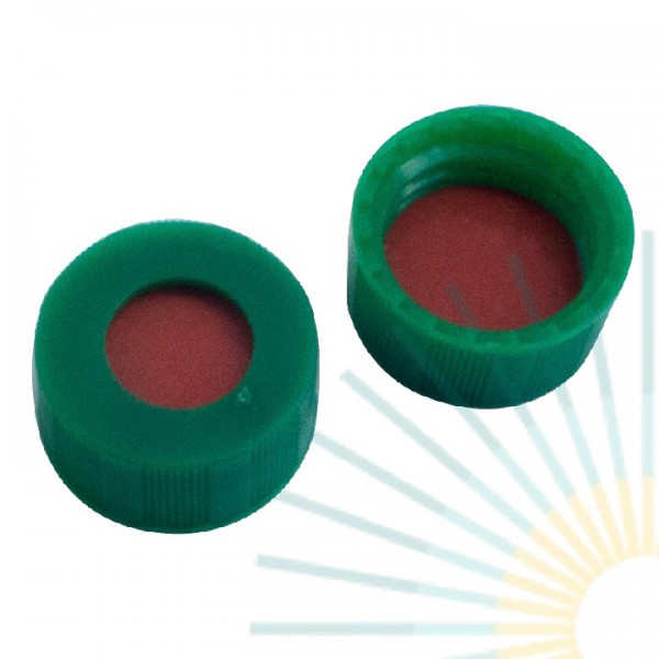 9mm PP Short Screw Cap, green, hole; Nat. Rubber red-orange/TEF transp., 1.0mm