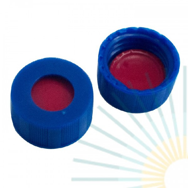 9mm PP Short Screw Cap, blue, hole; PTFE red/Silicone white/PTFE red, 1.0mm