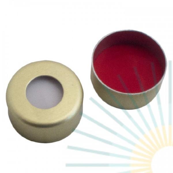 11mm Crimp Cap (Alu), gold, hole; Silicone white/PTFE red, 1.3mm
