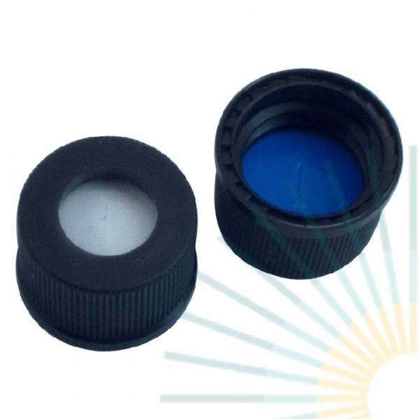 10mm PP Screw Cap, black, hole, ND10; Silicone white/PTFE blue, 1.5mm, slitted