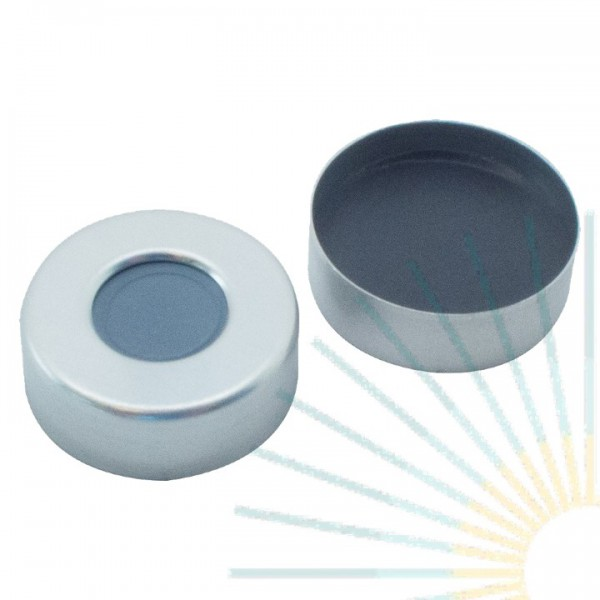 20mm Crimp Cap (Alu), blank, hole; Septa butyl/PTFE, grey, 3.0mm