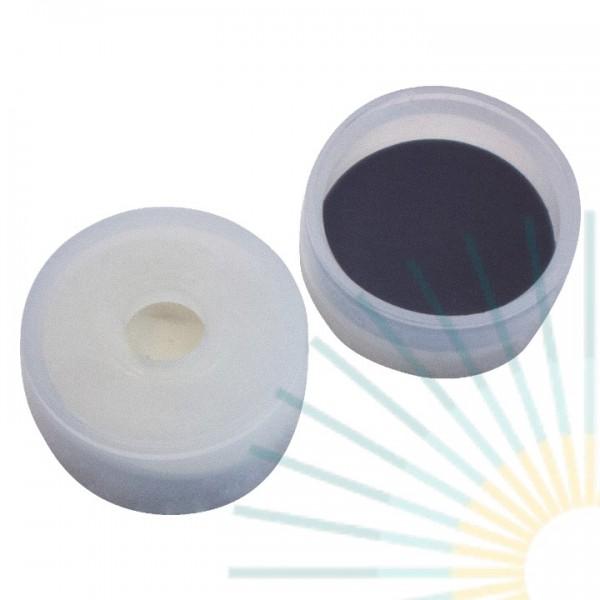 20mm PE Kappe, transp., 4,3mm Loch, Höhe 9,1mm; Butyl creme/PTFE grau, 1,3mm