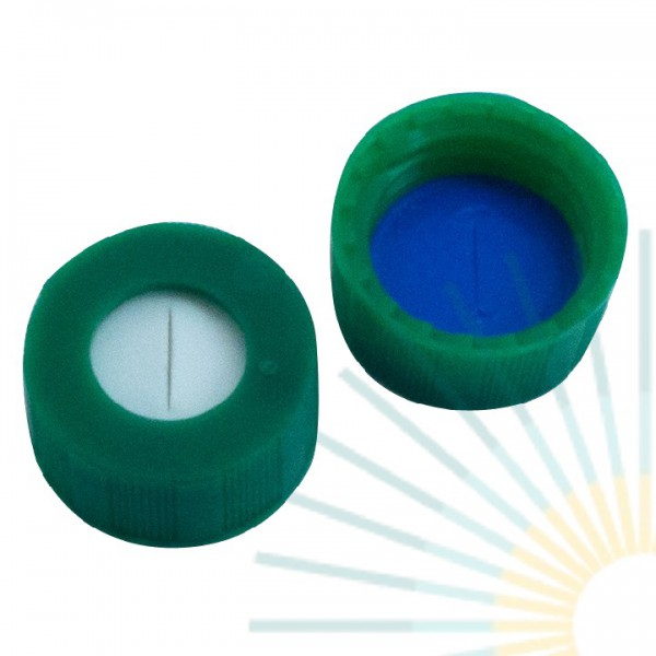 9mm PP Short Screw Cap, green, hole; Silicone white/PTFE blue, 1.0mm, slitted