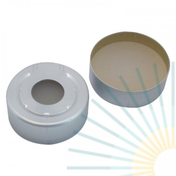 20mm Alu HS Crimp Cap, colourless, hole; Silicone white/PTFE beige, 3.2mm