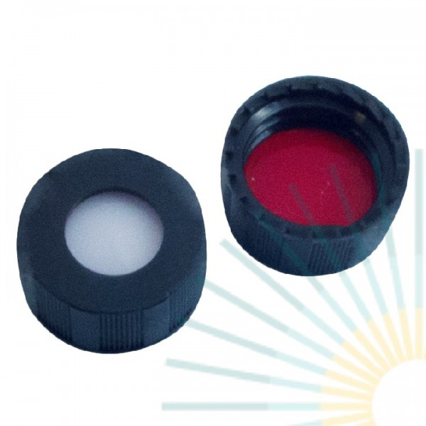9mm PP Short Screw Cap, black, hole; Silicone white/PTFE red, 1.0mm