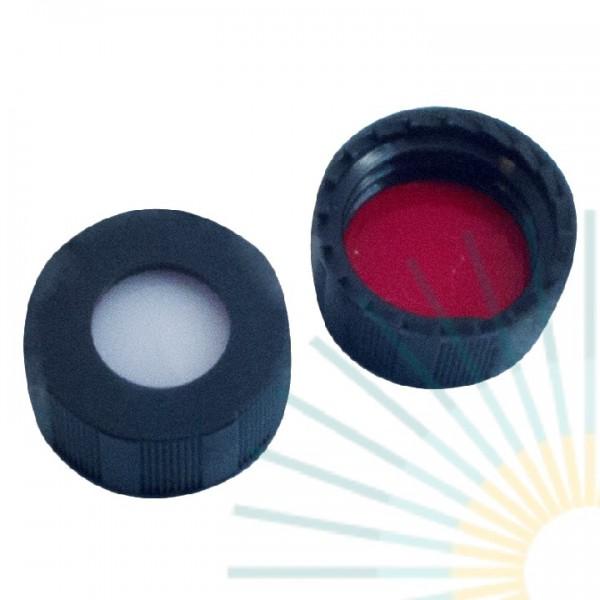 9mm PP Kurz-GW-Kappe, schwarz, Loch; Silicon weiß/PTFE rot, 1,0mm