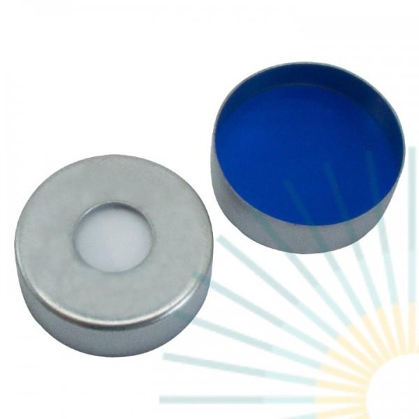 20mm Magnet. Bördelk., silber, 8mm Loch; Silicon weiß/PTFE blau, 1,5mm