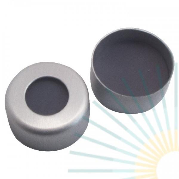 11mm Crimp Cap (Alu), colourless, hole; PTFE grey/butyl creme/PTFE grey, 1.3mm