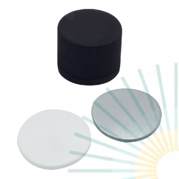 15mm PP Screw Cap, black, slitted; Silicone white/ Alu. foil silver, 1.3mm
