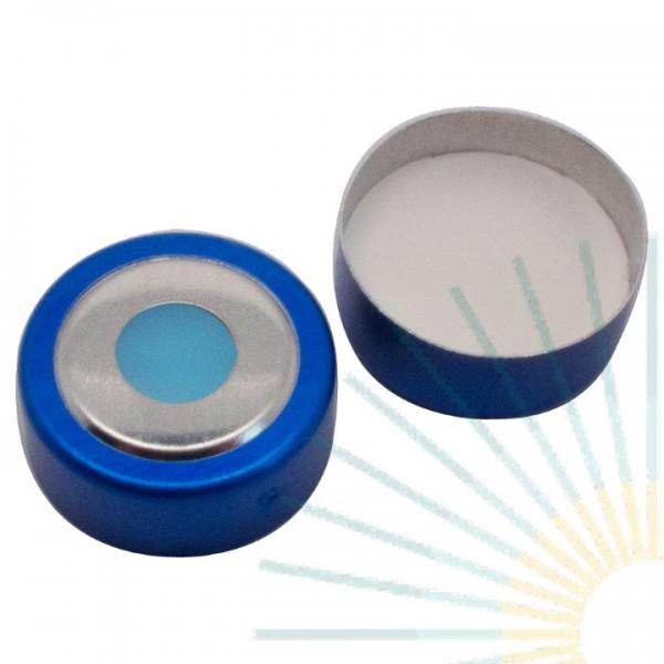 20mm Magnet. Bimetall Bördelk., blau, 8mm Loch; Silicon blau transp./PTFE weiß, 3,0mm
