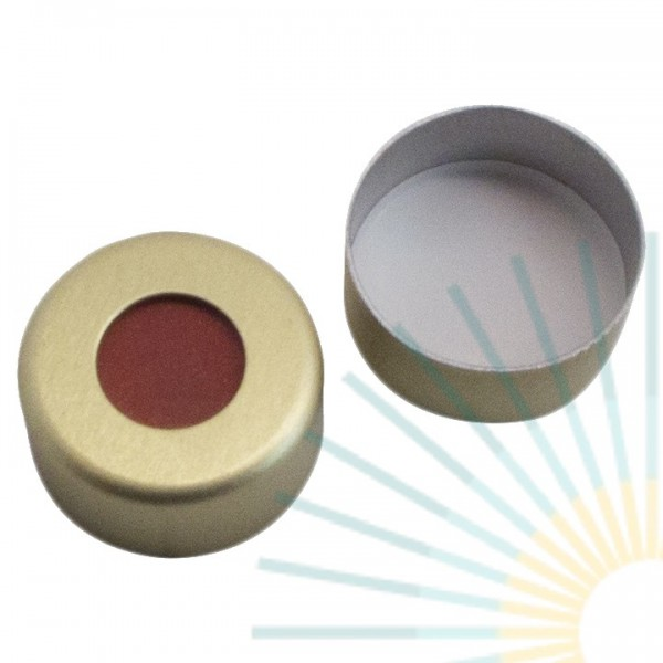 11mm Crimp Cap (Alu), gold, hole; Red Rubber/PTFE beige, 1.0mm