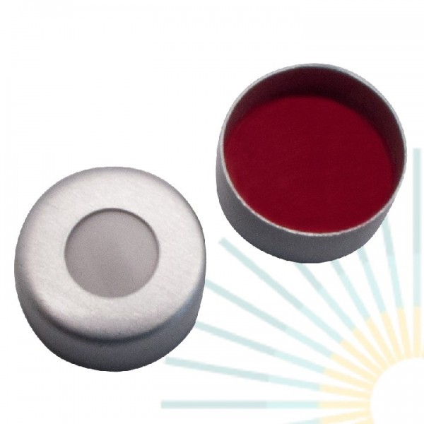 8mm Crimp Cap (Alu), colourless, hole; Silicone creme/PTFE red, 1.5mm